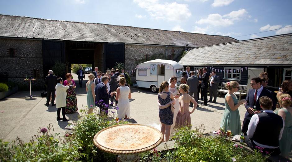 Caravan Photobooth at Upwaltham Barns - Courtyard